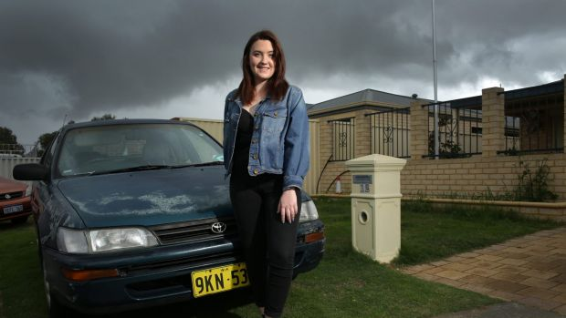 Olivia Mead, aged 19, outside her Perth home.