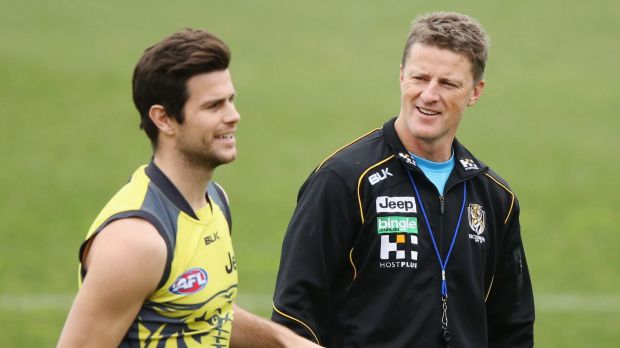 Leader again: Trent Cotchin, with coach Damien Hardwick.