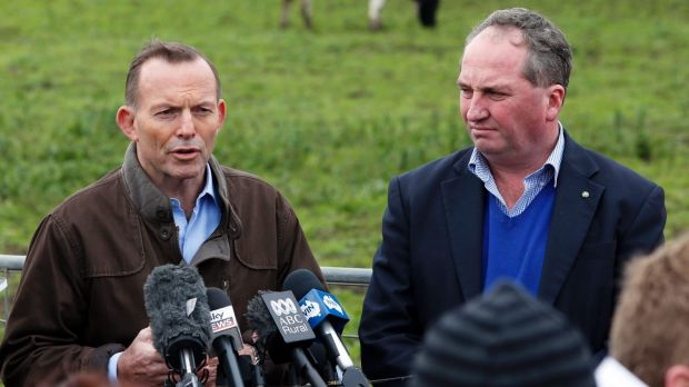 Agriculture Minister Barnaby Joyce withdrew from an appearance with Prime Minister Tony Abbott on Thursday.