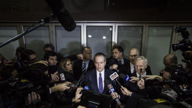 Opposition Leader Bill Shorten speaks to the media after appearing at the royal commission into trade unions.