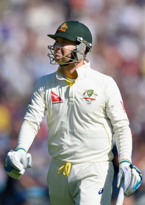 Australia captain Michael Clarke departs for 38, after a sharp return catch by England spinner Moeen Ali, on day two of ...
