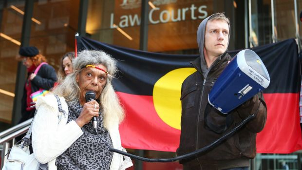 Aboriginal tent embassy leader Jenny Munro delivers a speech outside the Supreme Court before Friday's hearing.
