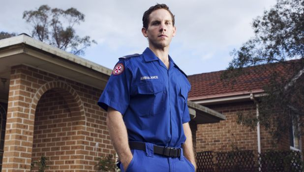 Paramedic Gareth Copeland at his home in Gosford.