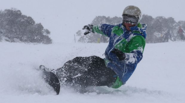 A snow boarder at Perisher on Friday.