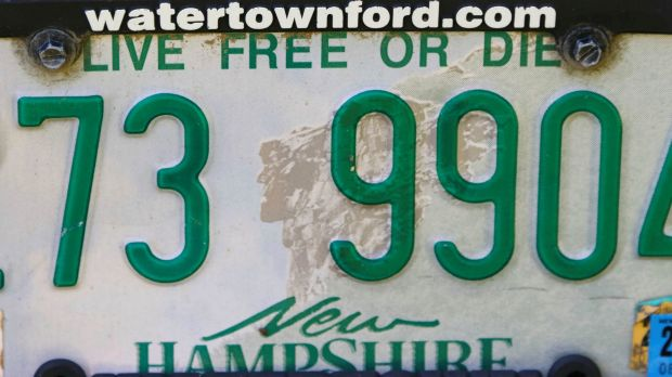 "A New Hampshire licence plate featuring the state motto ""Live Free or Die"" in Rindge, New Hampshire."
