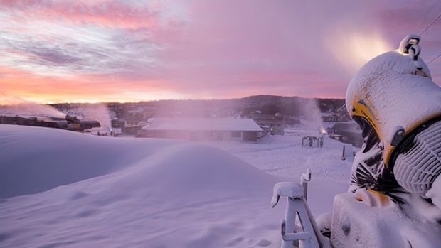 """If you can make snow in Australia, you can make it anywhere in the world"": Snow guns replenish cover overnight."