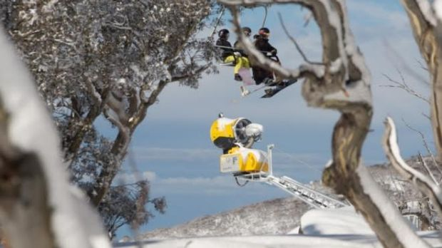 A TechnoAlpin T60 Boom Fan Gun at the ready: Many snow gun manufacturers test their equipment in Australia.