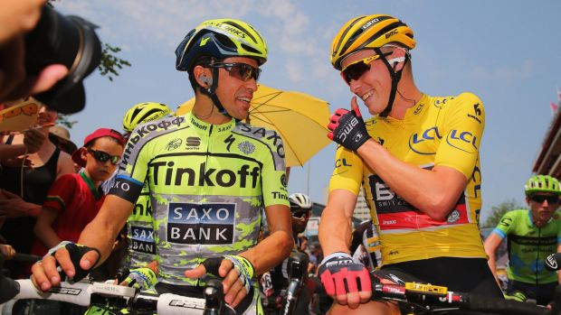 What a day: Australian Rohan Dennis chats with Spanish start Alberto Contador during his day in yellow in the Tour de France.