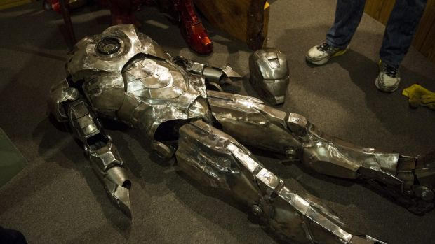 The latest suit, still to be painted, has some of the feel of a knight's armour but is custom-made to wrap around Mr ...