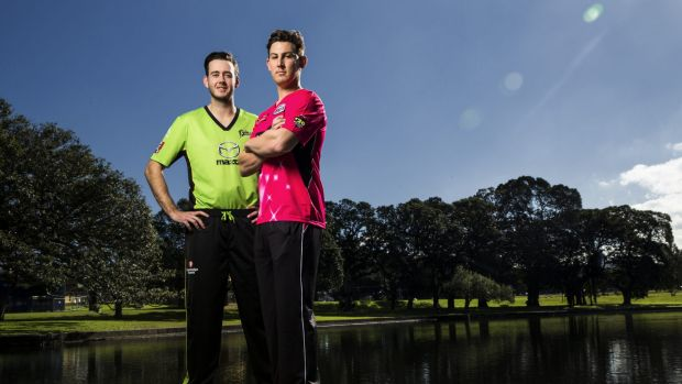 Cross-town rivals: Sydney Thunder's Kurtis Patterson and Sixer Nic Maddinson outside the SCG this week.