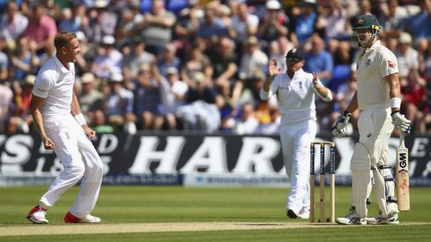 Stuart Broad celebrates after trapping Shane Watson early on day three of the first Test.