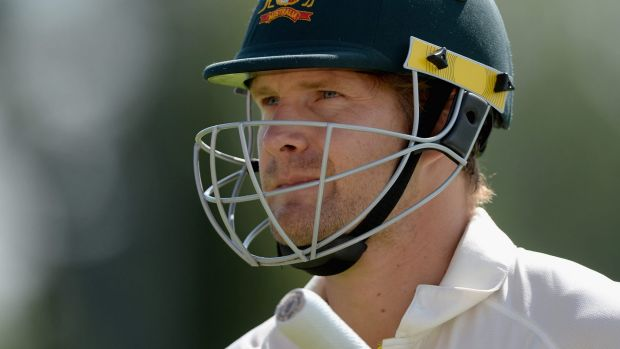 Trapped again: Shane Watson of Australia leaves the crease after idiosyncratic Ashes innings.