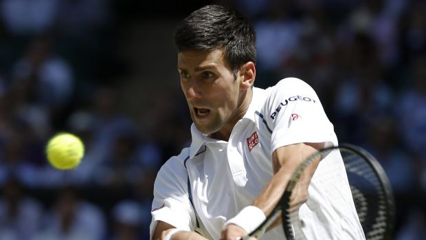 Eyes on the prize ... Novak Djokovic returns a shot to Frenchman Richard Gasquet during his straight-sets victory.