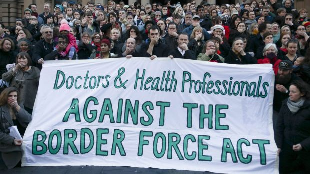 Doctors and Health Professionals protesting new laws that threaten them with jail if they reveal conditions in detention ...