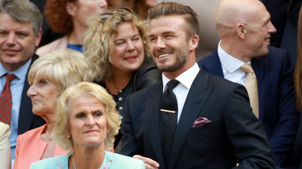 David Beckham in the Royal Box, on Centre Court, at the All England Lawn Tennis Championships in Wimbledon.