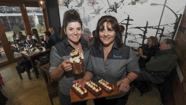 Two of Patissez's co-owners, Anna Petridis, left, and her mother Gina, inside the new cafe.