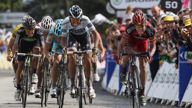 Cadel Evans battles to victory alongside Alberto Contador during Stage 4 of the 2011 Tour.