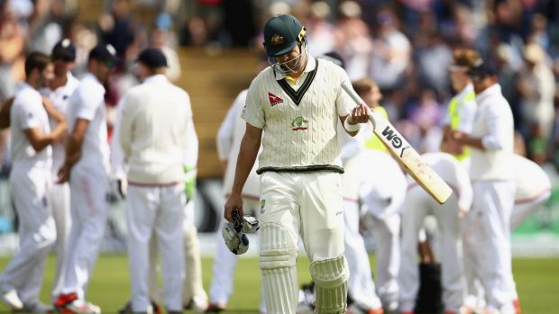 Trapped in front yet again: Shane Watson leaves the field after being dismissed by Mark Wood in the second innings of ...