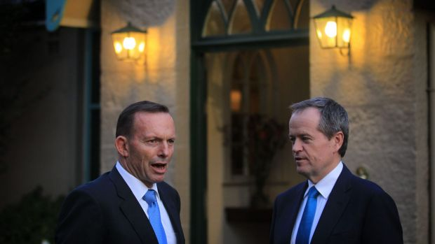 Prime Minister Tony Abbott and Opposition Leader Bill Shorten greeted guests together ahead of the Indigenous leaders ...