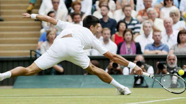 Unstoppable: Djokovic hits a shot during the men's final.