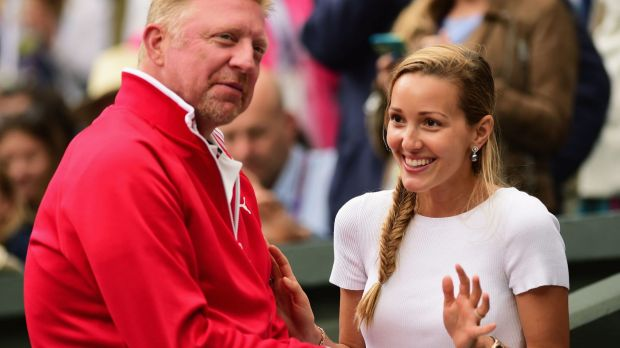 Beaming: Coach Boris Becker and Novak's wife Jelena Djokovic.