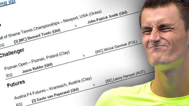 """A Tennis Australia email said Bernard Tomic was to play at the """"Hall of Shame Tennis Championships""""."""