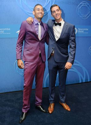 Nick Kyrgios and Thanasi Kokkinakis at the Newcombe Medal in December 2014.