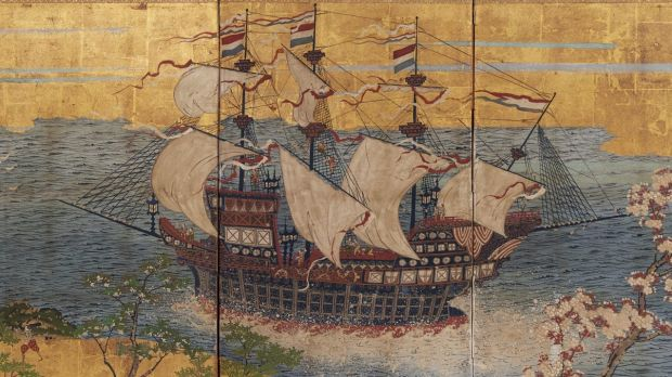 <i>Dutch trading ship in Japanese waters</i>, circa 1870, four-panel screen, opaque watercolour, ink and gold on paper, ...