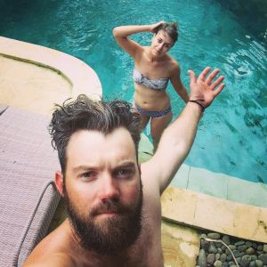 """""""It's not the worst place to be stuck, really,"""" says Nathan Glue, who, with Julie Gray, is stranded in Bali."""