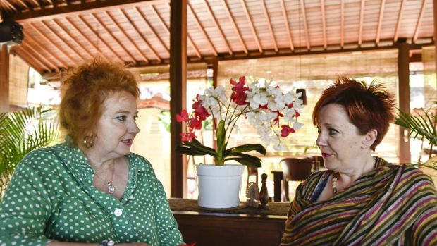 """""""We were so lucky to find a place to stay,"""" says Coburg real estate agent Jackie Knapsey, right. She is stuck in Bali ..."""