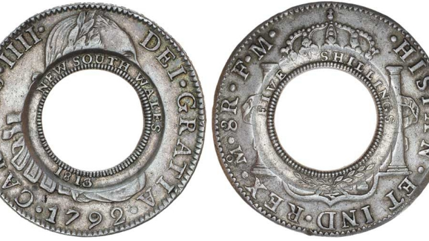 "The 1813 ""holey dollar"" which goes on auction this month."