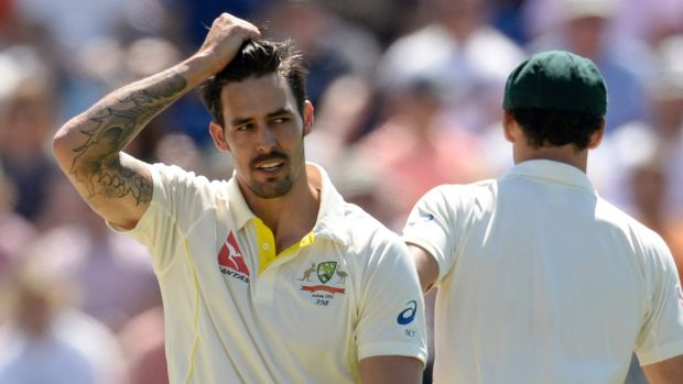 Scratching his head: Mitchell Johnson returned figures of 2-180 in the first Test.