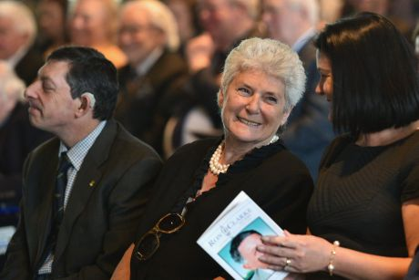 Helen Clarke at the MCG memorial service of her late husband and former Australian Olympic athlete, writer and Gold ...