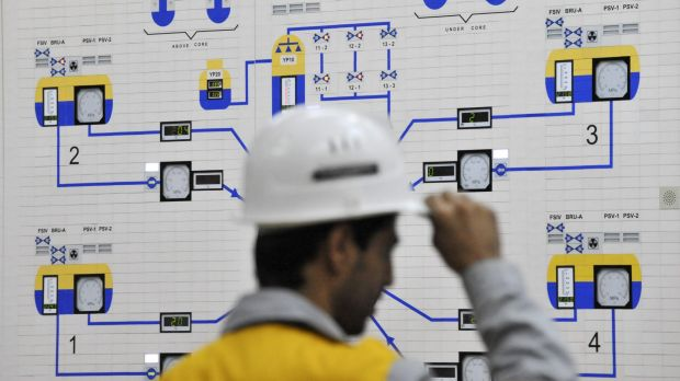 An Iranian operator monitors the nuclear power plant unit in Bushehr, about 1200 km south of Tehran.