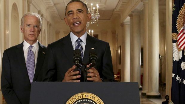 US President Barack Obama delivers a statement about the nuclear deal with Vice-President Joe Biden at his side during ...