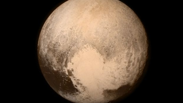 This image provided by NASA shows Pluto, seen from the New Horizons spacecraft on July 13.