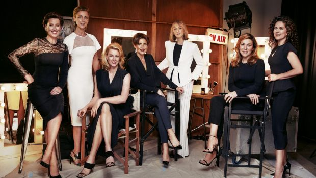 Magnificent seven: from left, Virginia Trioli, Kate Torney, Leigh Sales, Emma Alberici, Sally Neighbour, Jo Puccini and ...