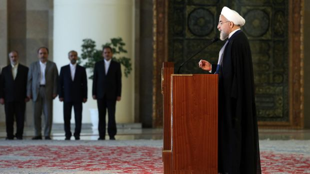 Iranian President Hassan Rouhani addresses the nation in a televised speech minutes after the landmark nuclear agreement ...