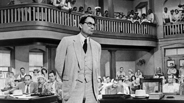 Gregory Peck as Atticus Finch in the segregated court room of 'To Kill a Mockingbird', the film based on Harper Lee's novel.