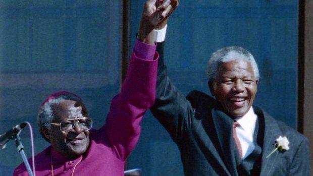 The late Nelson Mandela with former Bishop Desmond Tutu in Cape Town in 1994.