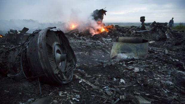 A man walks among the debris at the MH17 crash site near the village of Hrabove, Ukraine on July 17, 2014.