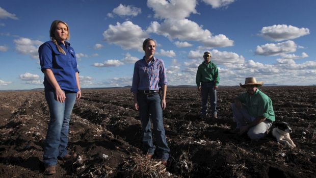 Members of the Liverpool Plains Youth Group on the black soils of Breeza Station.