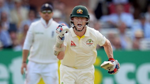 Australia opener Chris Rogers celebrates reaching his century on day one of the second Ashes Test against England at ...