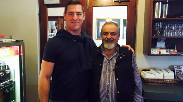Elie Issa with Australian rugby league star Brent Tate.