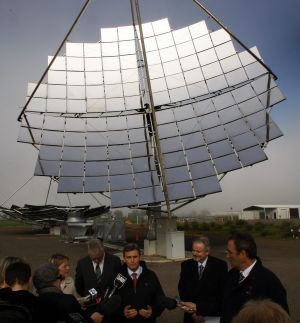 Former premier John Brumby in front of a Silex solar test facility at Bridgewater in 2010. The company's promised plant ...