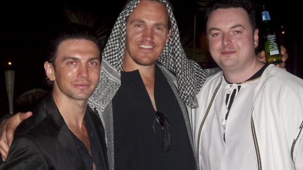 Henry Kaye, Jamie McIntyre and Konrad Bobilak at a fancy dress party.