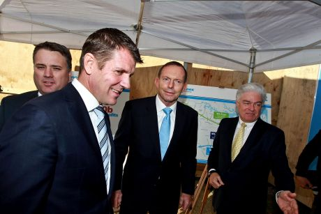 Mike Baird and Tony Abbott at the launch of stage 2 of Westconnex on Monday.