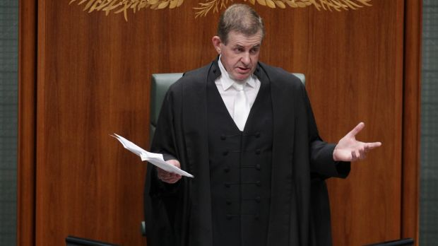 Peter Slipper announces his resignation in 2012.