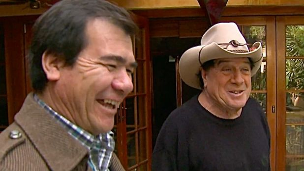 Arif Fayarzi with Molly Meldrum in <i>Freedom Stories</i>. One of Arif's first jobs in Australia was tiling the swimming ...