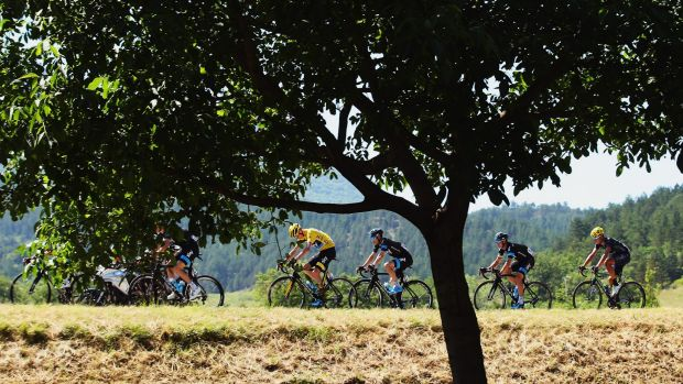 Yellow fever: Chris Froome (centre yellow) and his Sky teammates make the running on the 16th stage of the Tour de France.